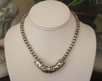 "Vintage Taxco Sterling Silver Beaded Necklace With Removable Enhancer 15"" 6MM Beads"