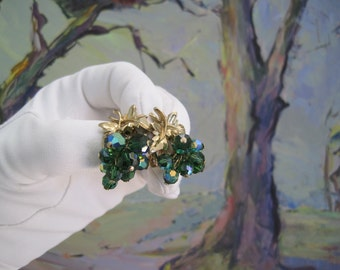 Vintage Earrings Aurora Borealis Green Blue Faceted Beads Leaves Mid Century 1950s Fashion Jewelry