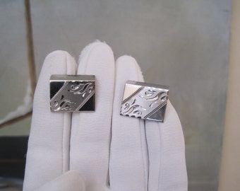 Vintage Cuff Links Cufflinks Barrington Sterling Engraved Etched