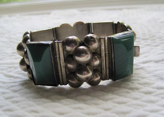 Bracelet Sterling Silver Bakelite Taxco Mexico Green Vintage 1940s