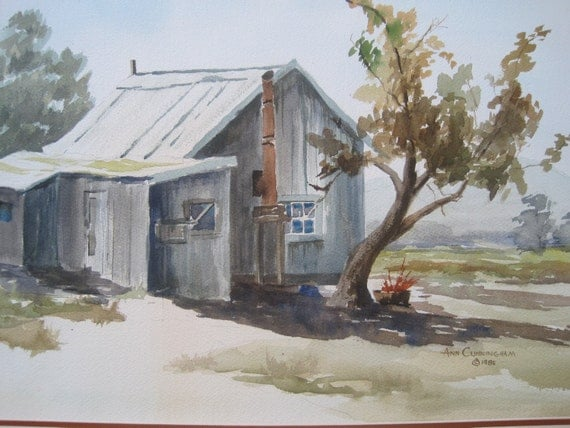 Vintage Original Watercolor Signed Rustic Cabin Gray Blue Browns Green  Matted 28 x 22