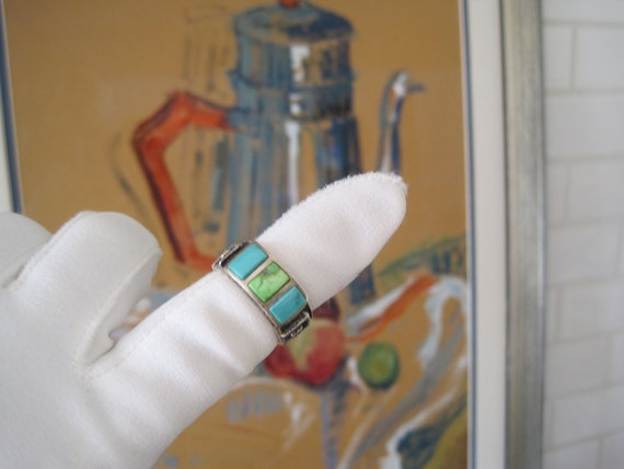Vintage Ring Turquoise Sterling Silver Signed Native American Navajo size 7