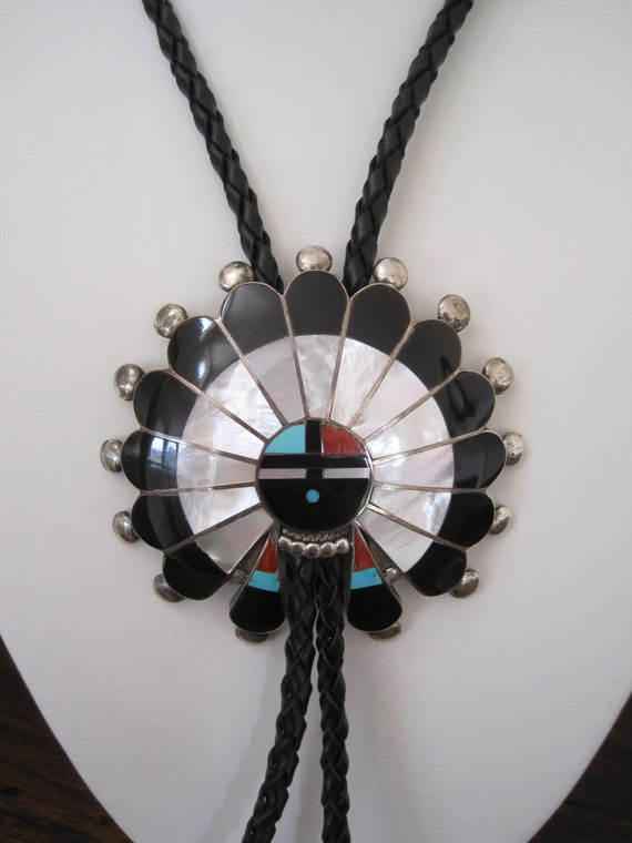 RESERVED FOR MO Vintage Bolo Tie Necktie Zuni Sunface Big Bold by Pauline Lonjose Inlay Mother of Pearl Coral Jet Turquoise Native American