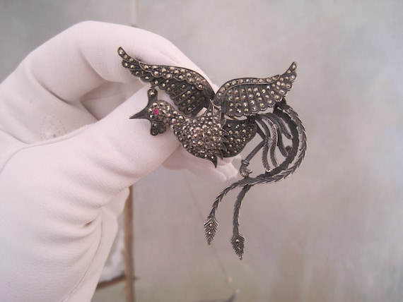 RESERVED Art Deco Brooch Pin Figural Rooster Marcasite Sterling Silver Large and Impressive