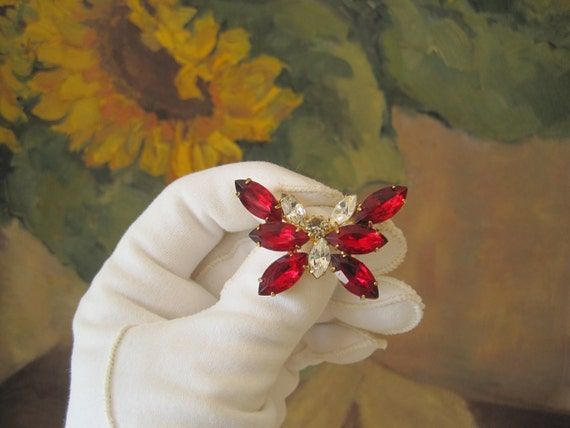 Butterfly Pin Brooch Rhinestone Red Clear Vintage  Hat Pin Sash Pin Juliana Style