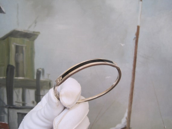 Vintage Sterling Silver Black Onyx Inlay Bracelet Bangle Modern