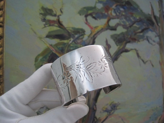 Victorian Sterling Silver Bracelet Wide Cuff Aesthetic Period Hand Engraved