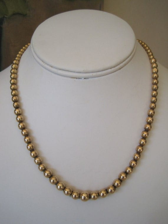 Vintage Binder Brothers Necklace Graduated Bead 12K Gold Filled Signed 1940s 17 Inch