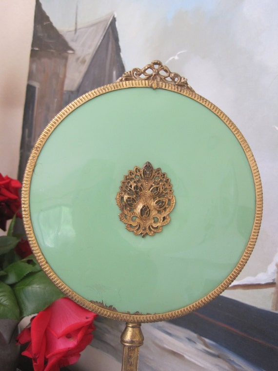 Vintage Hand Vanity Mirror 1940s Jade Green and Brass Beveled Glass
