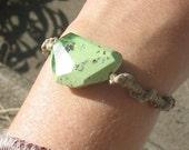 balance bracelet - Lemon Chrysoprase and hemp
