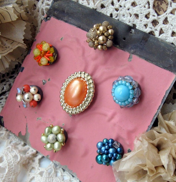 Glamorous Costume Jewelry Magnet Collection on Vintage Tin Ceiling Tile