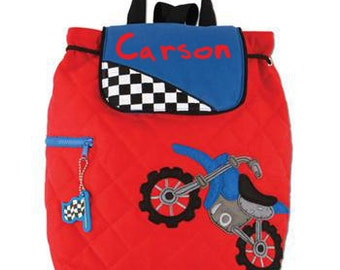 Personalized Quilted Stephen Joseph Motorcycle  Backpack Diaperbag NEW