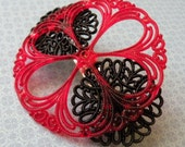 SALE - Scarlet on Black Lace Barrette - LAST ONE - BunnyBaubles