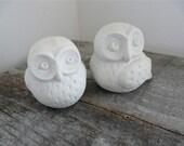 Vintage Porcelain Owl Figurines, Set of 2