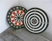 Vintage Dartboards, Game Room Home Decor, Set of 2 Reversible Design