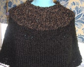 junior petite capelet, with black and brown yoke by needles1on Etsy.com