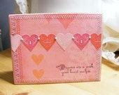 Handmade Valentines Day Greeting Card Sewn Vintage Shabby Chic Look Hearts SerendipityCrafting
