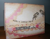 Happy Birthday Wishes Greeting Card Vintage Style  Envelope and Seal Quick Shipping Personalization Available DC61