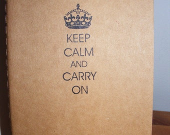Gifts Under 10 Keep Calm and Carry On Kraft Journal Moleskine Journal  Vintage Style Pocketbook Size Perfect for Gift or Favor