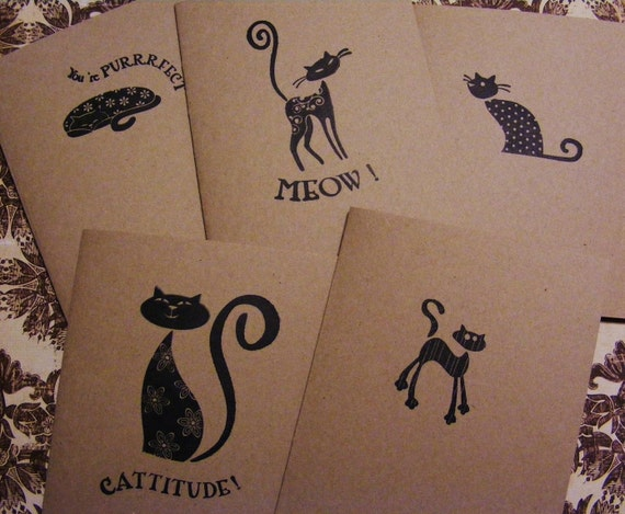 Same Day Shipping  All Occasion Handmade Cat Kitten Greeting Cards Stamped w Envelopes Stickers Set of 5 Vintage Style Great Gift