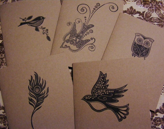 All Occasion Handmade Bird Jewel Peacock Feather Greeting Cards Stamped w Envelopes Stickers Set of 5 Vintage Style Great Gift
