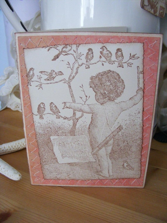 Bird Symphony Greeting Card Vintage Look All Occasion w/ Envelope and Seal Sewn SerendipityCrafting