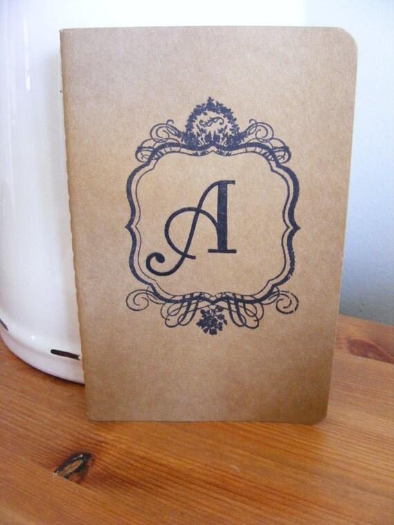 Gifts Under 10 Monogram Kraft Journal Cahier Moleskine Journal Notebook Vintage Style Pocketbook Size Perfect for Wedding Favor or Gift