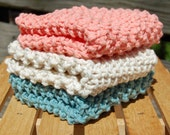 Set of three dish cloths/wash cloths - Tea Rose, Soft Ecru, Soft Teal