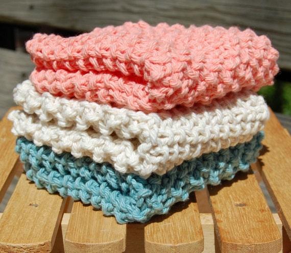Set of three dish cloths/wash cloths - Tea Rose, Soft Ecru, Soft Teal