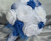Luxury fabric bridal bouquet and boutonniere in royal blue and white - can be custom made in any color.