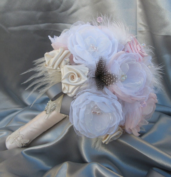 Pink and White ENCHANTMENT -  Large Luxury bridal bouquet and boutonniere - can be custom made in any color.
