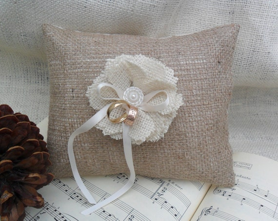 Burlap ring bearer pillow with burlap handmade flower and vintage glass button.