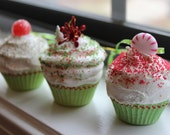 RESERVED- Christmas Mini Cupcake Ornaments- S/3