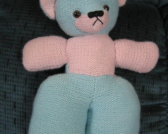 Knitted Blue Teddy