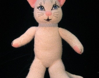 LUXEMBEARS Knitted White Cat Doll