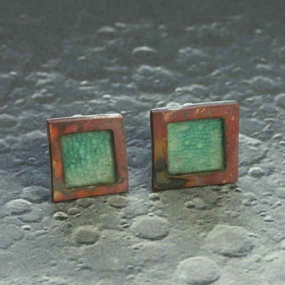 Chameleon Tiny Textures Studs - copper, silver and resin