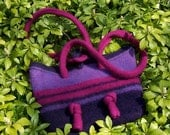 felted wool shoulder bag purple & fuchsia