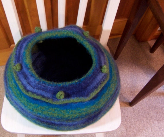 reserved for april felted cat cave