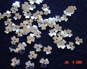 Petite Vintage White Opaque Shamrock Shaped Sequins 1 Strand