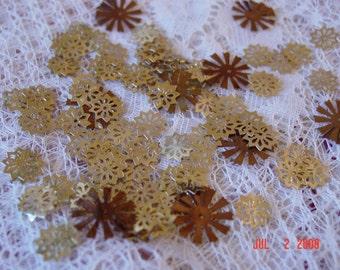 Golden Vintage Snowflake Sequins