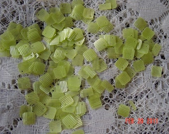 Vintage Lime Green Striated Square Sequins