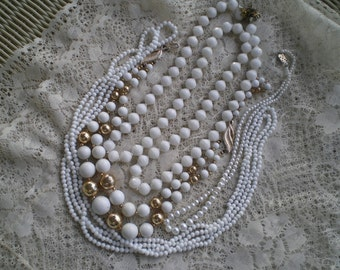 Vintage Destash White Pearl, Glass  Bead Lot of 4 Necklaces Chokers for repurpose