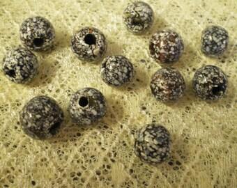 Vintage Black and White Splatter Beads