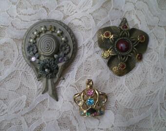 Craft Destash Lot of 2 Pins and a Pendant for Repair or Repurpose