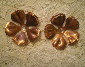 Vintage Copper and Rhinestone Flower Embellishments