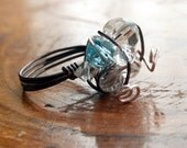 Quirky Wire Wrapped Ring with Clear and Blue Faceted Beads