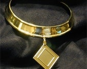 SALE ITEM!  Brass choker collar with pendant