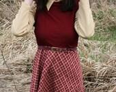 70's One Piece Burgandy and Beige Plaid Belted Schoolgirl Mini Dress