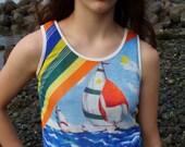 70's Vintage Sailboat Sleeveless Shirt XS