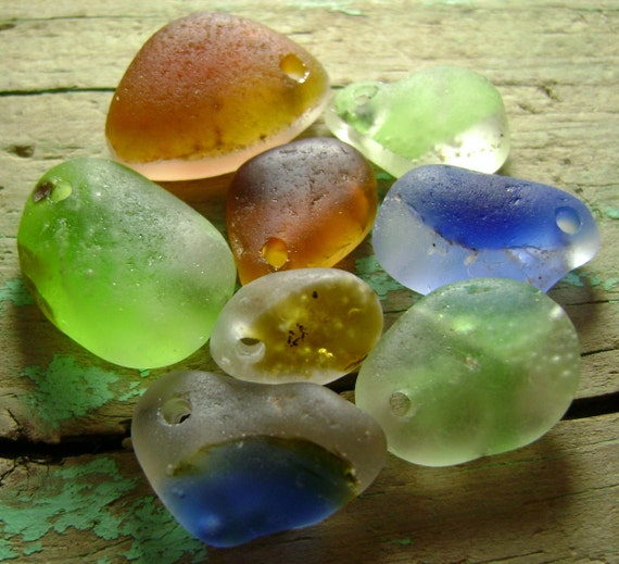 Genuine Beach Sea Glass - Drilled Bonfire Melts - DIY Jewelry Supply Beads